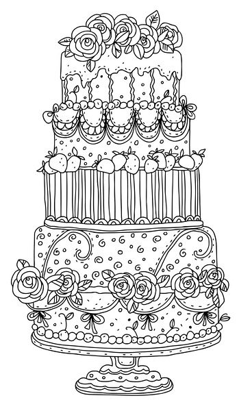 Beautiful wedding cake: To the Garden of Peaches  - adult colouring page