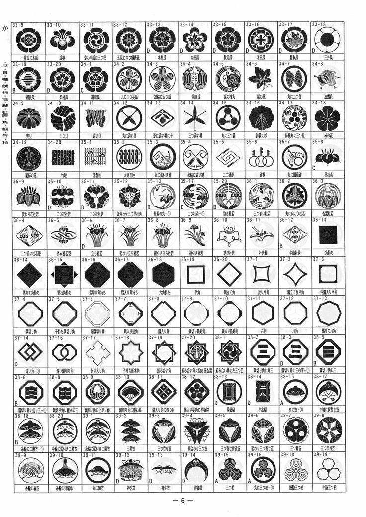 「我が家の家紋」(3720種類)P6:か・瓜・貝・櫂・鏡・柿・垣・鍵・杜若・角・額・笠・柏