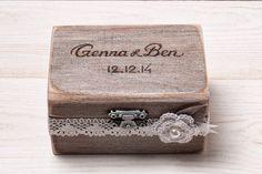Wedding Ring Bearer Box Wedding Ring Box Rustic Ring Box Custom Wood Ring Box…
