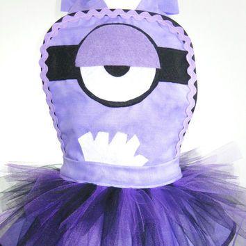 Child Size Purple Evil Minion Tutu Apron from FlirtyandFunAprons