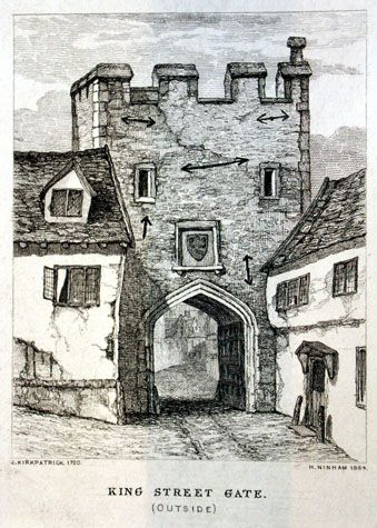 The south or outer side of the gate. The etching was made by Henry Ninham in 1864 from a drawing by John Kirkpatrick [Norwich Castle Museum and Art Gallery 1954.138, Todd 5, Norwich, 116a]