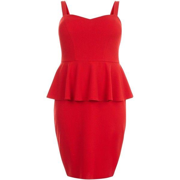 Curves Red Peplum Midi Dress ($17) ❤ liked on Polyvore featuring dresses, red midi dress, peplum dress, peplum midi dress, mid calf dresses and red peplum dress