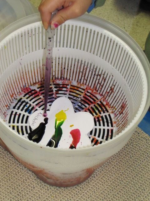"""Salad spinner art, my kids are doing this right now :D It took their """"intelligent"""" mother re-looking this up and seeing this picture to make it work right , lol"""