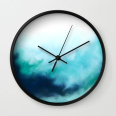 Capri Sea Wall Clock - Abstract Teal Wall Clock, Modern Blue Green Clock, Home Decor, Minimalist Clock, Modern Hanging Clock, Living Room Decor, Bed Room Decor