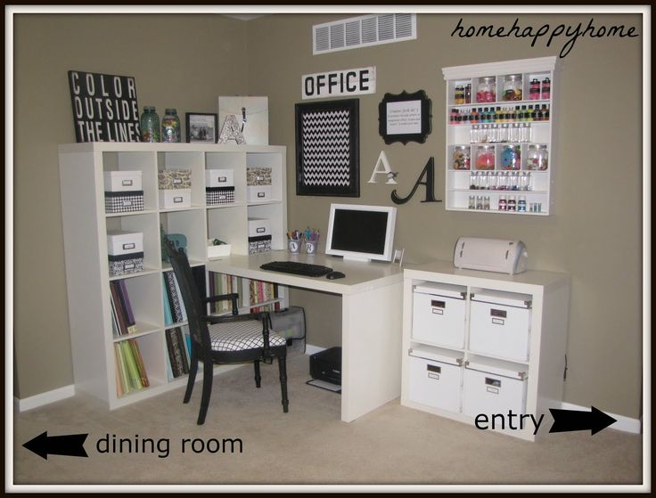 Cute Image Of Craft Room Design And Decoration Using L Shape White Wood Drawer Desk Including Simple Black Chair Light Beige