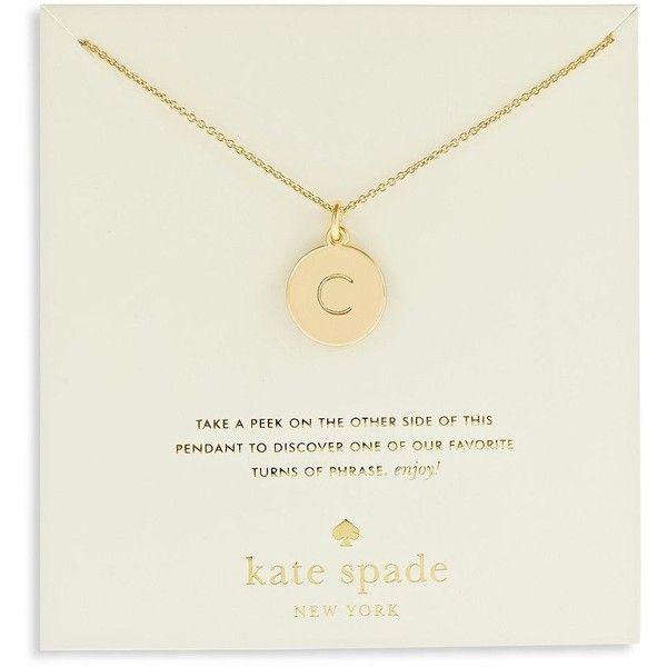 Kate Spade New York Engraved Letter C Pendant Necklace ($58) ❤ liked on Polyvore featuring jewelry, necklaces, gold, letter charms, letter charm necklace, initial pendant necklace, initial charm necklace and initial charms