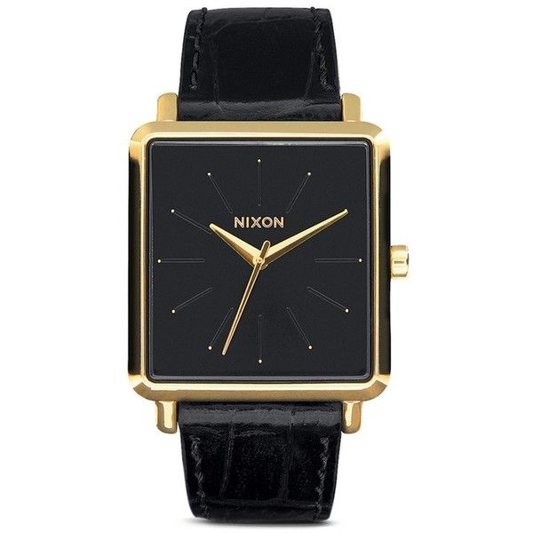 Nixon 'K Squared' watch (2.353.140 IDR) ❤ liked on Polyvore featuring jewelry, watches, black, nixon, black stainless steel jewelry, black watches, square wrist watch and black leather strap watches