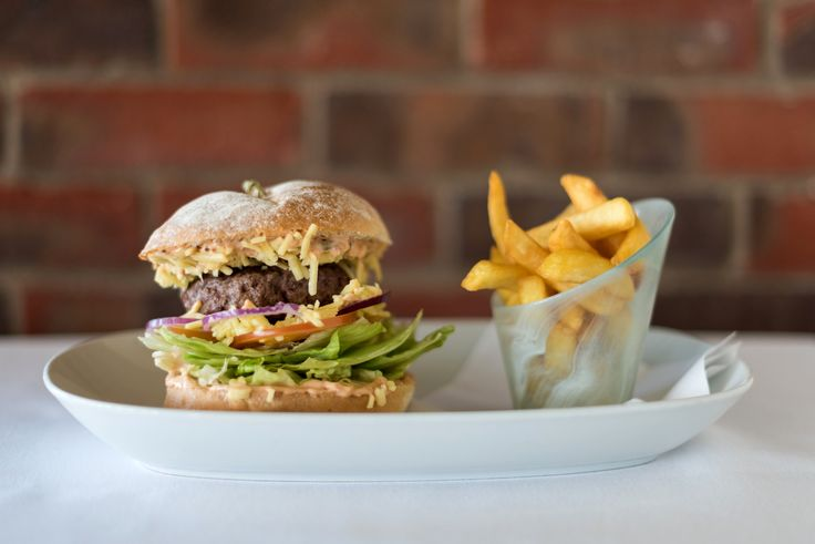 Burger and chips - a favourite with our diners