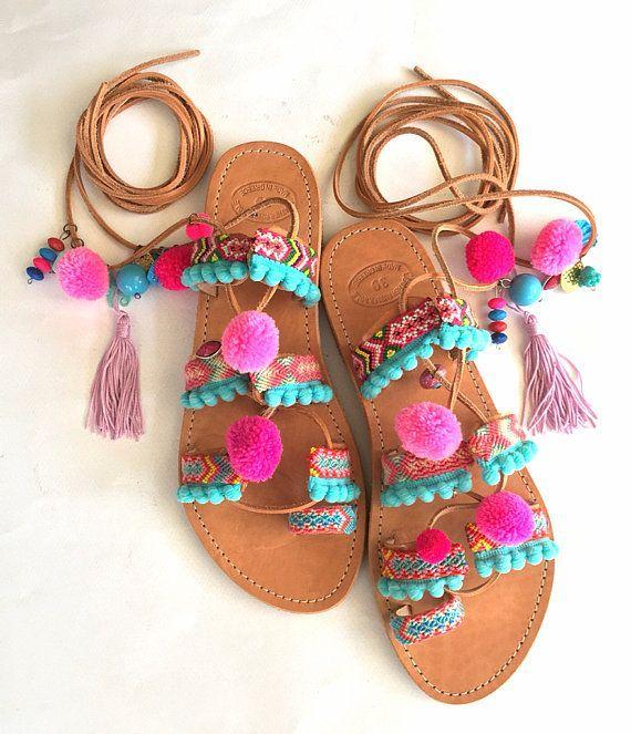 38508b599eb91 Tie Up Pom Pom Sandals Lollipop Leather | fashion trends in 2019 ...