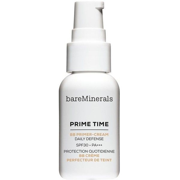 BareMinerals Prime Time BB Primer-Cream Daily Defense SPF30 - Colour... (120 RON) ❤ liked on Polyvore featuring beauty products, makeup, face makeup, bare escentuals makeup, bare escentuals and bare escentuals cosmetics