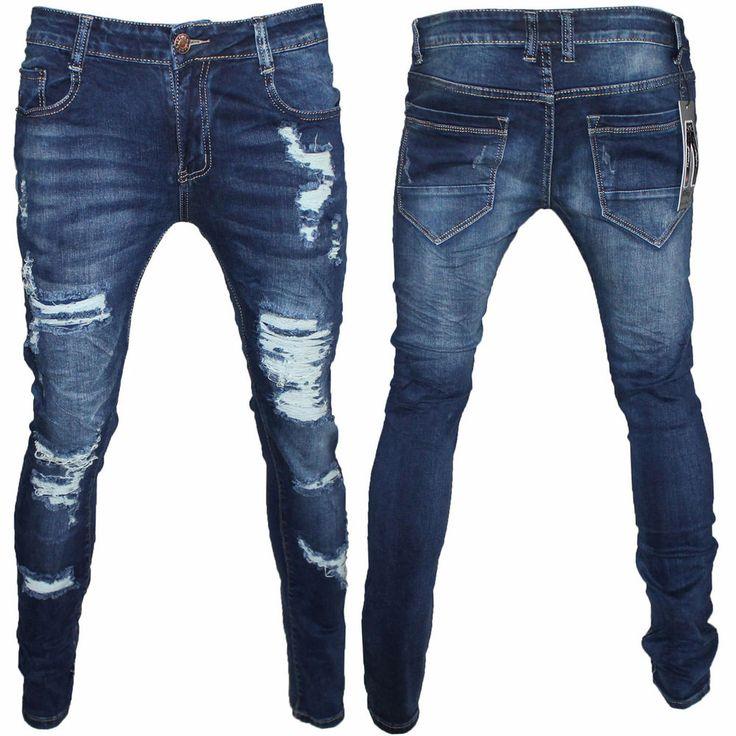 Jeans Uomo Strappato Vita Bassa Slim Fit Gamba Stretto Bellois Fashion F390