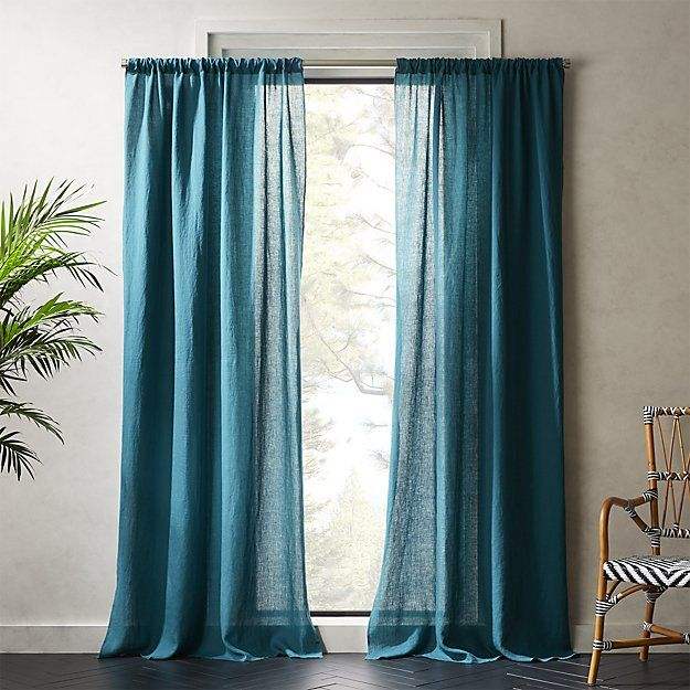 Linen Teal Curtain Panel Teal Curtains Curtains Living Room
