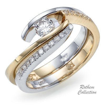 Two Tone Twist Diamond Engagement Ring Weding Band 0.38 ct. Not for me, but very pretty!