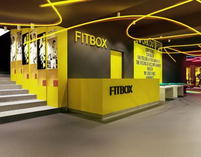 FITBOX L GYM By CUBE Architects Via Behance Gym Interiors Commercial Studio Fitness Center