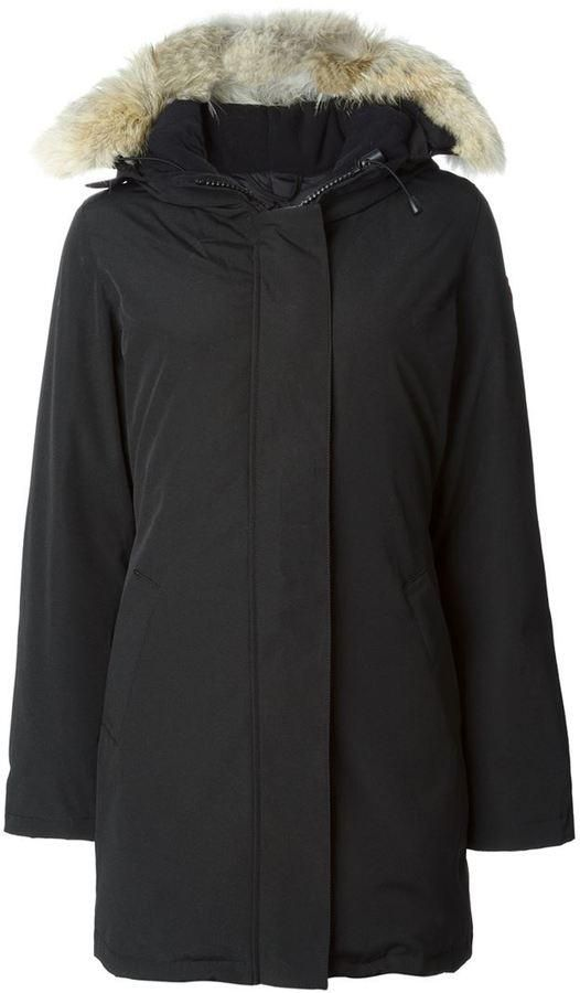 Black feather down 'Victoria' parka coat from Canada Goose.