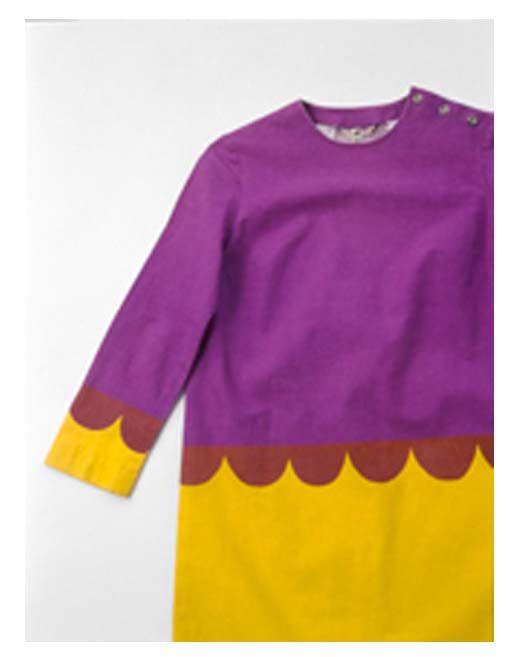 marimekko dress violet and yellow with overprint