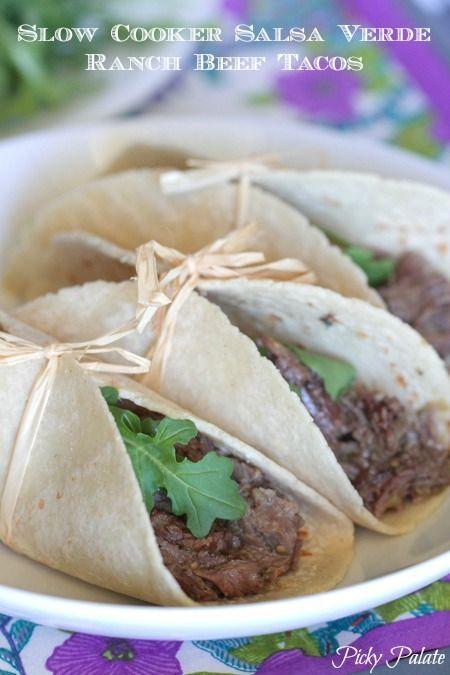 Slow Cooker Salsa Verde Ranch Beef Tacos.  3 Ingredients…best taco meat we've had!
