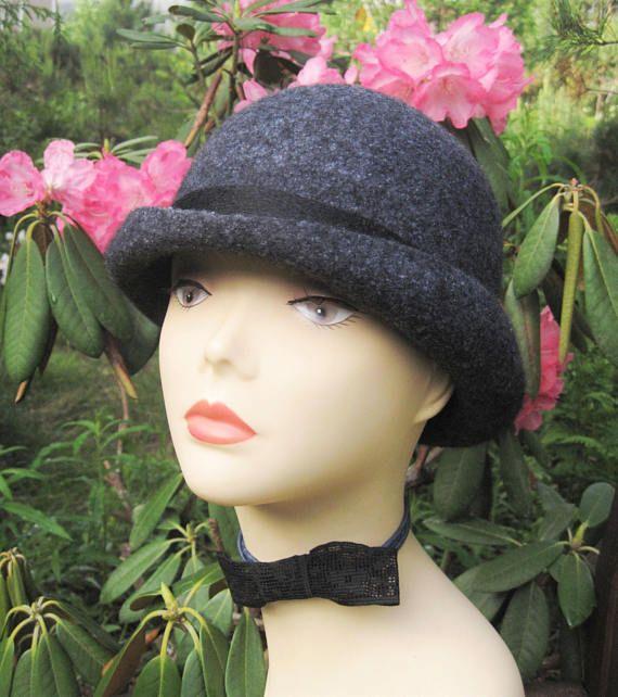 Grey felted hat Grey hat Felt hat Bowler hat Felted hat Hat