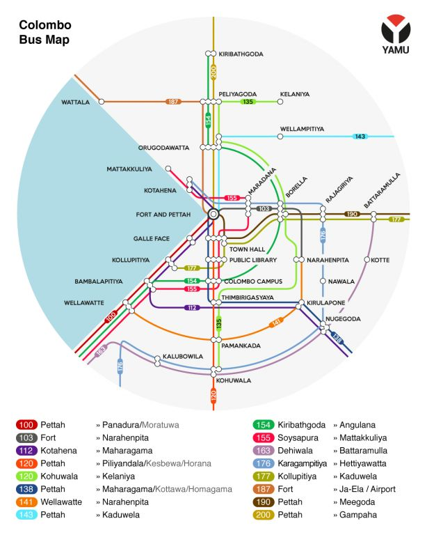 This is the Colombo bus route map by YAMU, showing the major bus routes around the city. This bus map is designed by Janith Leanage and YAMU has been printing it in their magazine for months,...