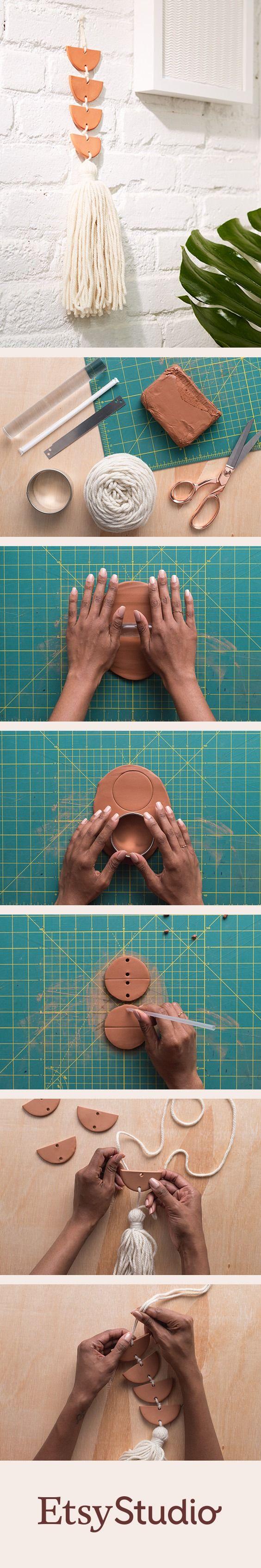 DIY Wanddeko aus lufttrocknendem Ton mit Quaste im Boho Look