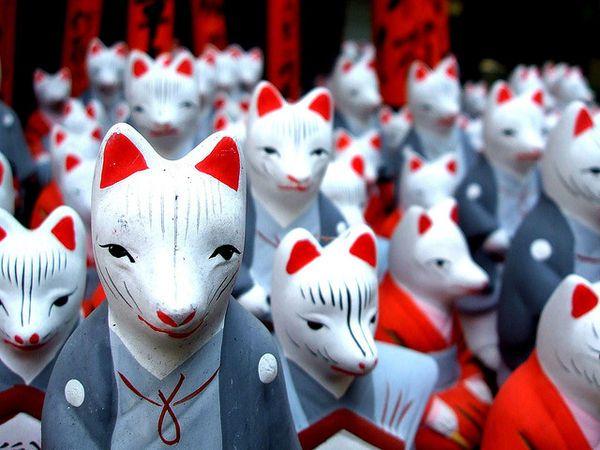 Japanese fox gods or messengers of inari