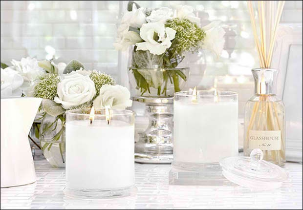 Glasshouse candles and pretty flowers...
