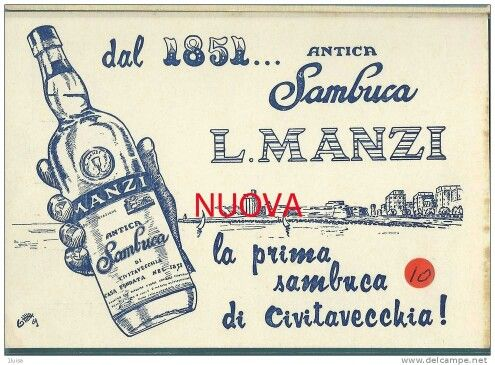 The Sambuca was first marketed in Italy in the nineteenth century by Luigi Manzi at Civitavecchia by the name of Sambuca Manzi in fact, still produced