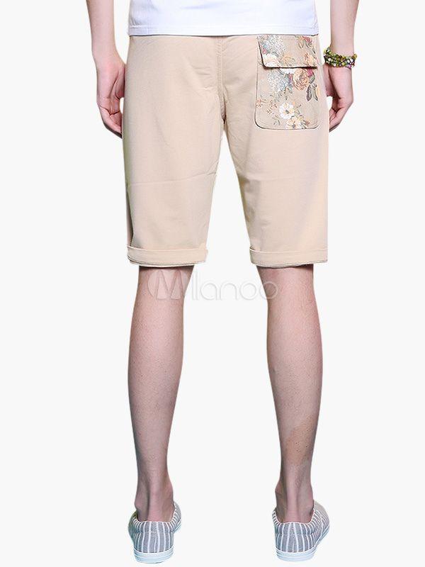 Cáqui Peony Pattern cintura elástica Cotton Shorts - Milanoo.com