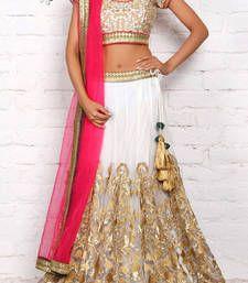 Buy White Color Fancy Designer Net Wedding Lehengas bollywood-lehenga online