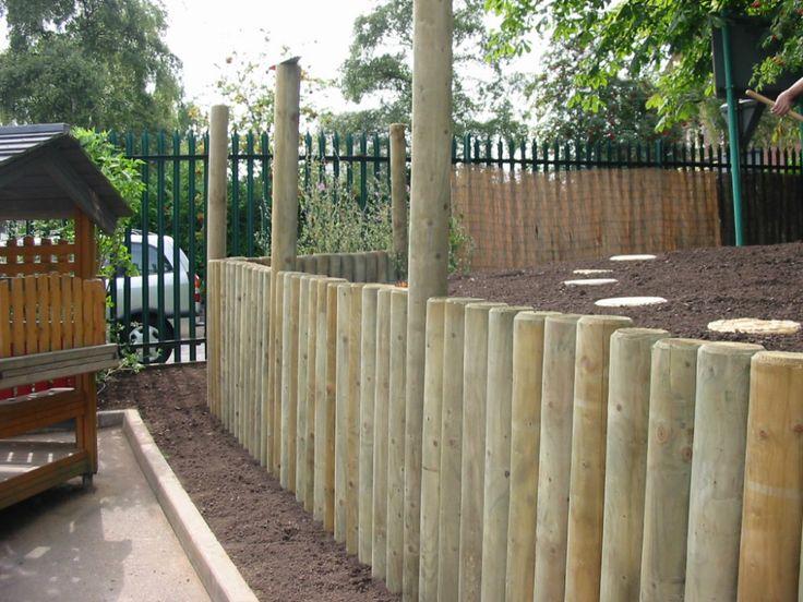 """log retaining wall"" design | Full-round log retaining wall to elevated embankment."