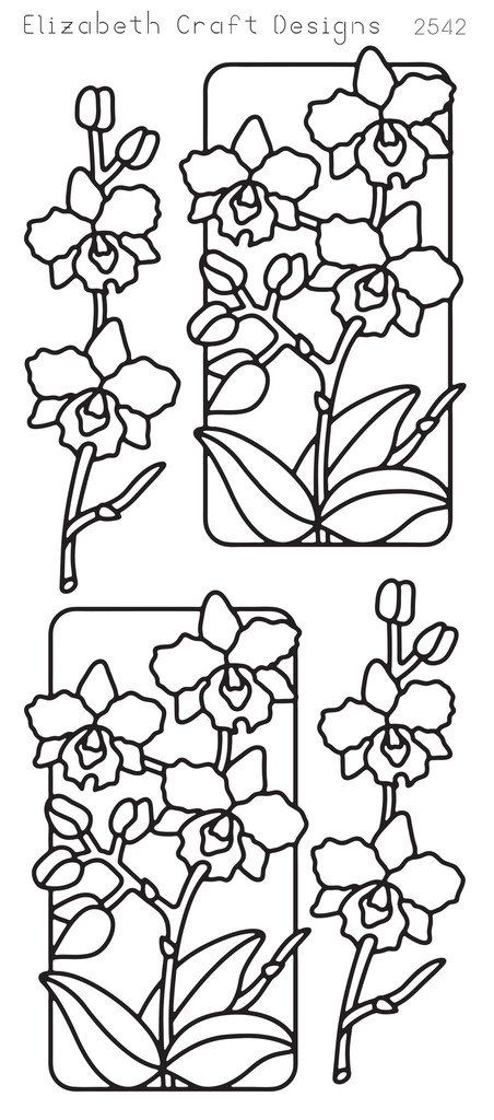 Elizabeth Craft Designs Peel-Off Sticker -2542B Flowers in Frame Black