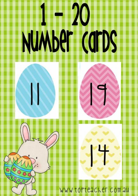 Number 1-20 Easter egg flashcards. Use thes to practise number recognition, number order, and the skill of making collections. I plan on having the students use little fluffy chicks from the $2 store