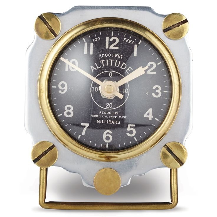 cast aluminum altimeter tabletop clock for a unique gift for him. from MUSEUM OUTLETS  #forhim  #tabletopclock  #altimeter