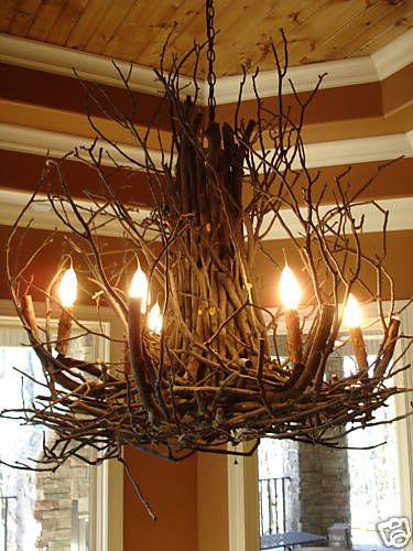 DEANNA WISH Designs Branchelier Rustic Twig Branch Light Custom Chandelier-How creative!