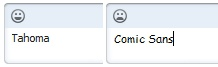 Skype - Changing the default chat font to Comic Sans makes the smiley sad.