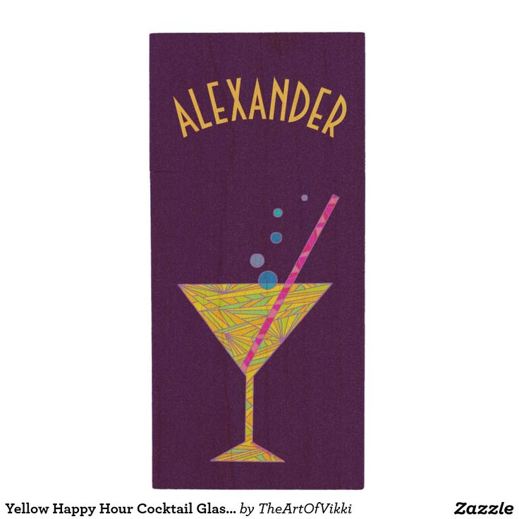 Yellow Happy Hour Cocktail Glass Martini Colorful Wood USB 2.0 Flash Drive