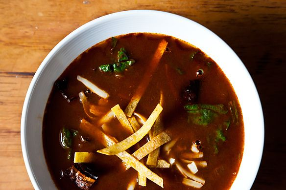Tortilla Soup with Shredded Chard     (Note: Made a vegetarian version of this.  Completely delicious.)