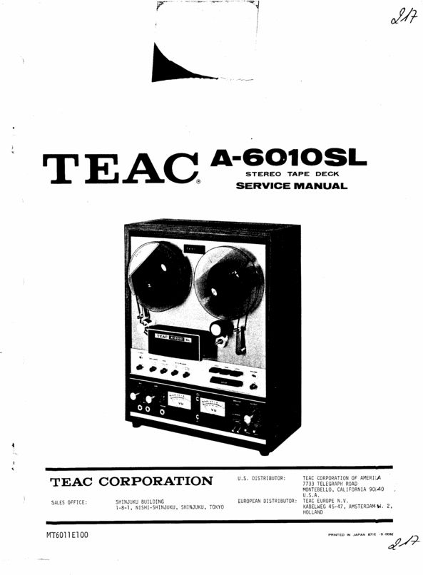 Teac A-6010-SL reel tape recorder Service Manual | Reel to Reel Tape