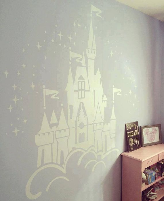 Floating disney fairy castle wall sticker vinyl decal for Castle wall mural sticker