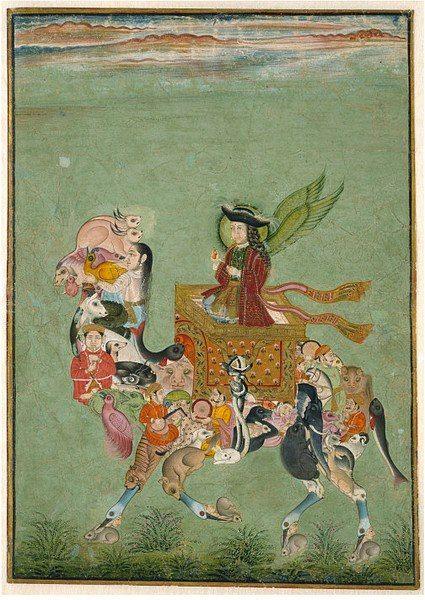 A winged European figure riding a composite camel Mewar, India - ca. 1725
