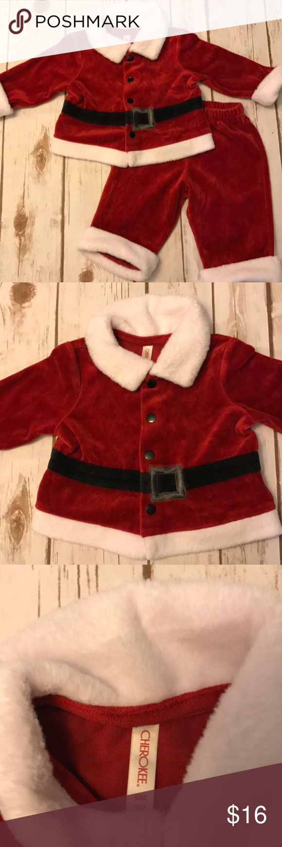 Baby Cherokee Brand Santa Holiday Outfit EUC! Cherokee brand sized 6 months unisex Santa outfit. Red and white fleece/velour material. Perfect for the holidays. Snap closure for top. Smoke free home. Cherokee Matching Sets