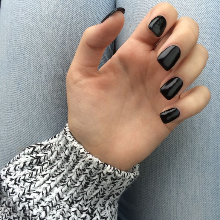 Loving These Dark Square Nails