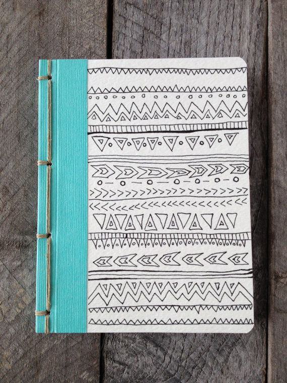 OOAK- Original Hand Drawing- Tribal Doodle- Pocket Journal with Navajo Binding. $18.00, via Etsy.