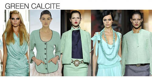 Top color. Womens Spring 2012 trend report, green calcite