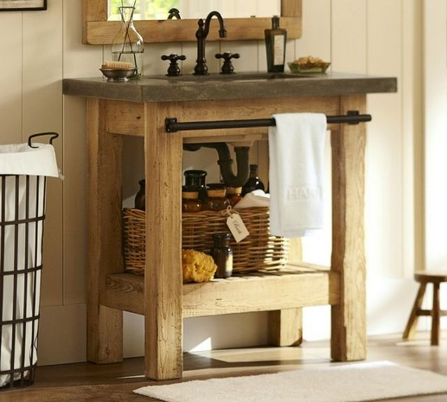 meuble salle de bain support lavabo en bois brut