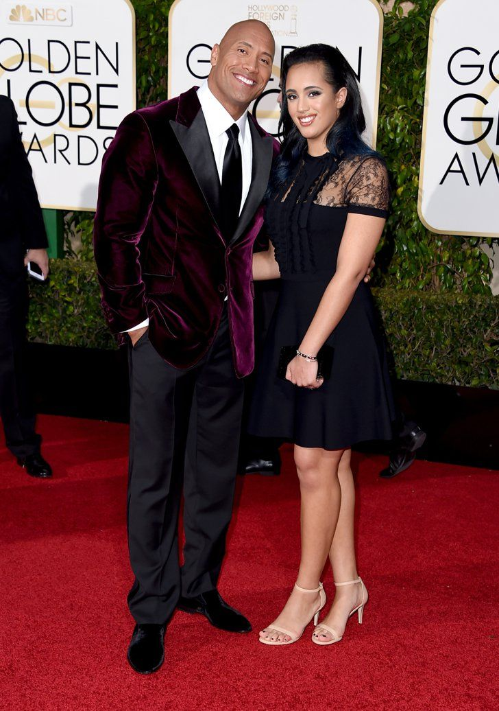 Pin for Later: See the Stars and Their Family Members at the Golden Globes! Dwayne Johnson and his daughter Simone