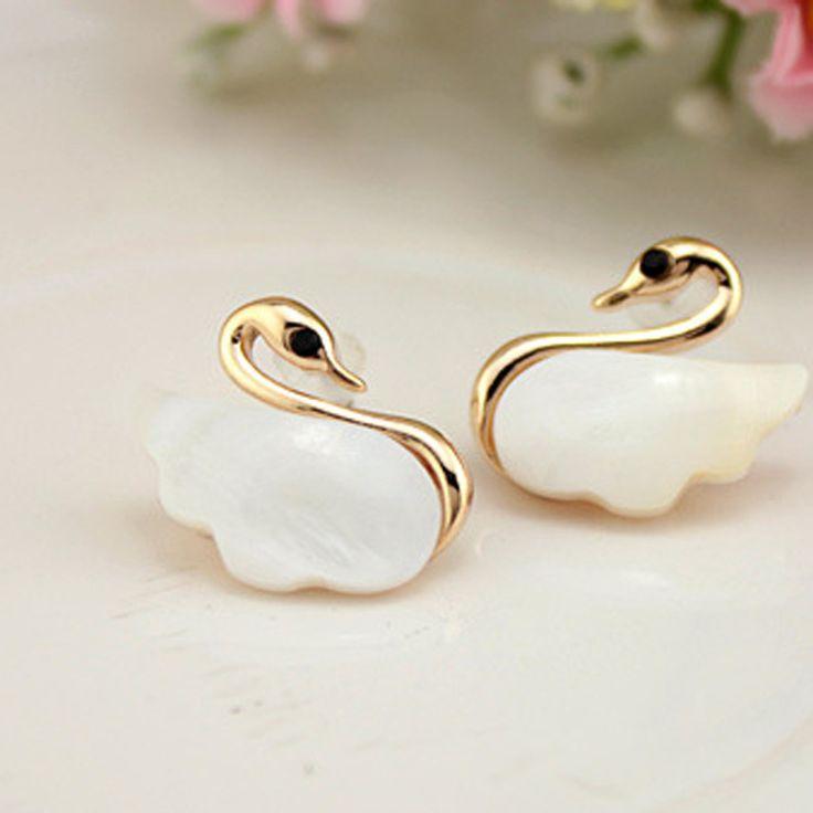Koreanisch Ohrring Verfeinerung Niedlich Little Swan Schale Ohrringe Mode Damen Abschnitt Ohrring