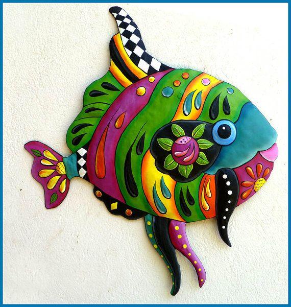Tropical Fish Metal Wall Art - Metal Wall Hanging - Brightly Hand Painted Metal Art, Garden Decor - Tropical Poolside Decor - J-0450-GR