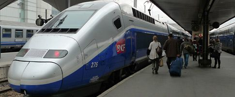 TGV train at Paris Gare de Lyon - secrets for discounts form Paris to Barcelona (I just saved about $200.)