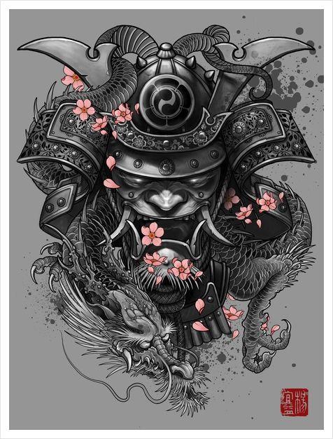 Samurai X Iphone 6 Wallpaper Dragon Samurai Art Print By Elvintattoo Samurai Tattoo
